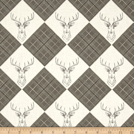 Lewis & Irene The Glen Stag Head Snow White Fabric