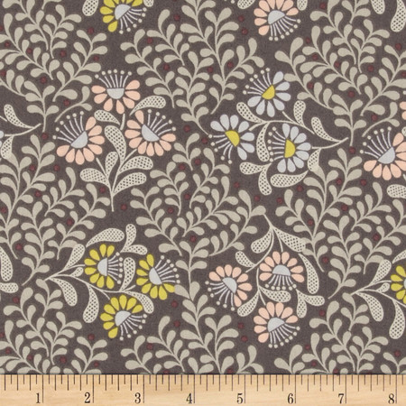 Lewis and Irene A Little Bird Told Me Flowers Leaves Dark Gray Fabric