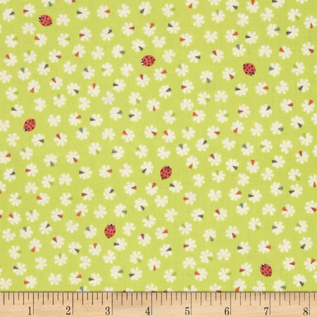 Lewis and Irene Our Friends in the Garden Mini Flowers Ladybugs Lime Fabric