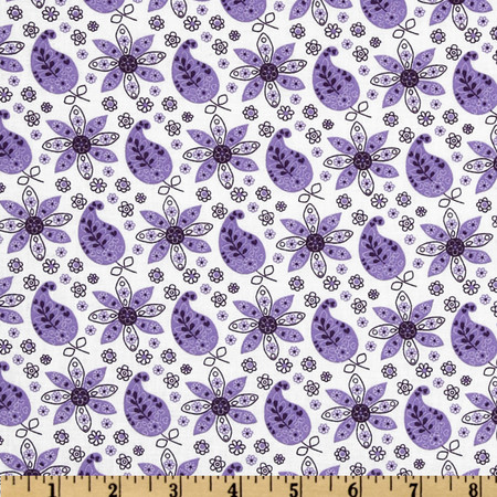 Lites & Brites Paisley Floral White/Purple Fabric By The Yard