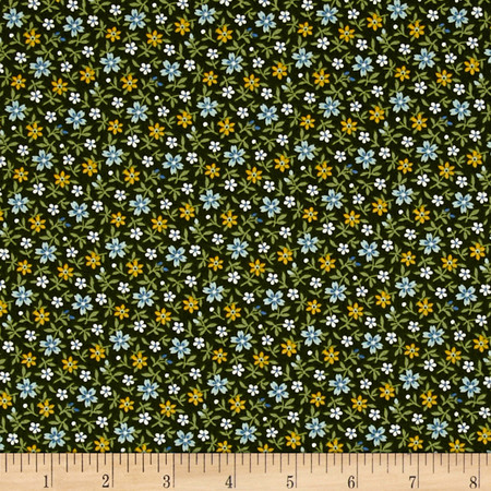 Little House On The Prairie Daisy Stem Green Fabric By The Yard