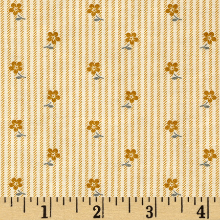 Little House On The Prairie Flower On Stripe Tan Fabric By The Yard