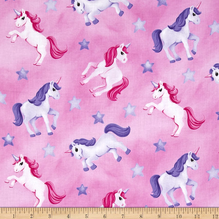 Little Princess Tossed Unicorns Pink Fabric