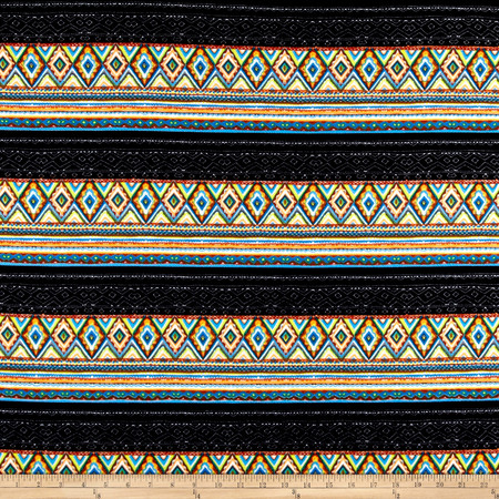 Liverpool Double Knit Print Bohemian Green Mint/Neon Yellow/ Turquoise Fabric By The Yard