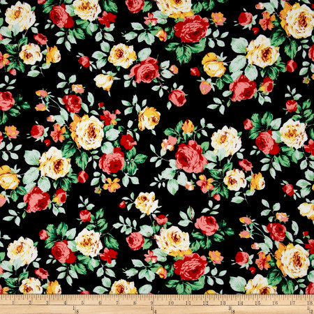 Liverpool Romantic Floral Ruby Fabric By The Yard
