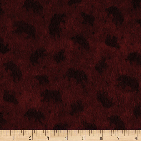 Lodge Life Flannel Bears Burgundy Fabric By The Yard