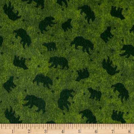 Lodge Life Flannel Bears  Green Fabric By The Yard
