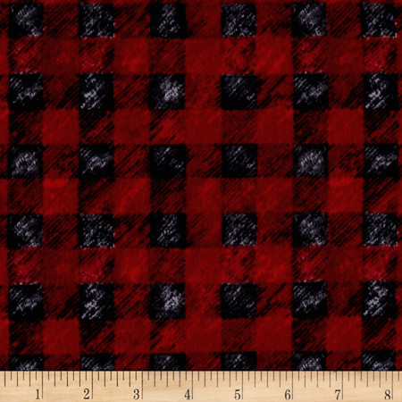 Lodge Life Flannel Buffalo Plaid Red Fabric By The Yard