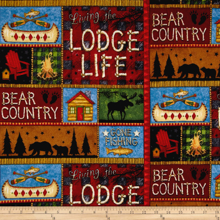 Lodge Life Flannel Patchwork Multi Fabric