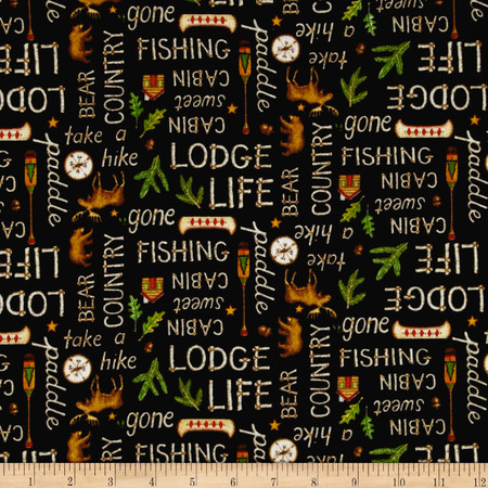 Lodge Life Flannel Words Black Fabric By The Yard