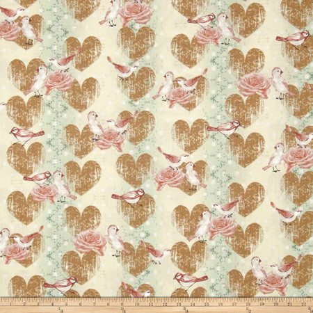 Love Birds Hearts and Birds Green/Multi Fabric By The Yard