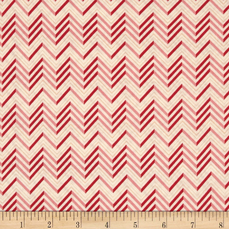 Lovebirds Chevron Cream Pink Fabric By The Yard