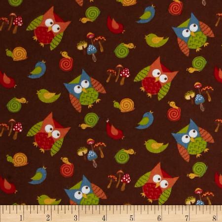 Lumberjack Flannel Tossed Owls Brown Fabric