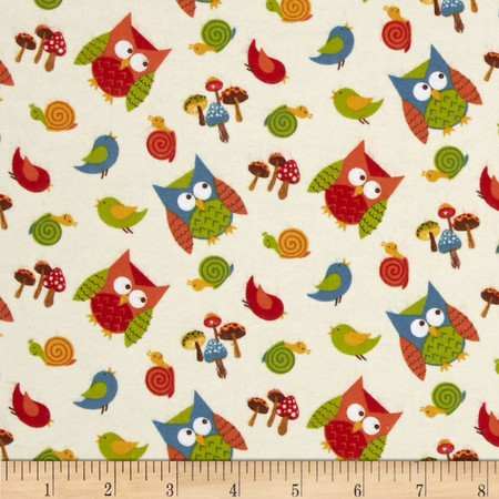 Lumberjack Flannel Tossed Owls Yellow Fabric
