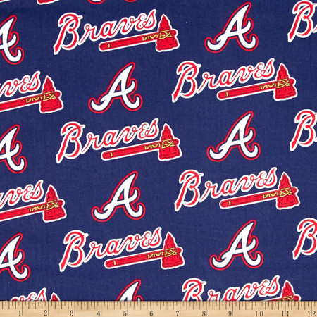 MLB Cotton Broadcloth Atlanta Braves Navy/Red Fabric By The Yard