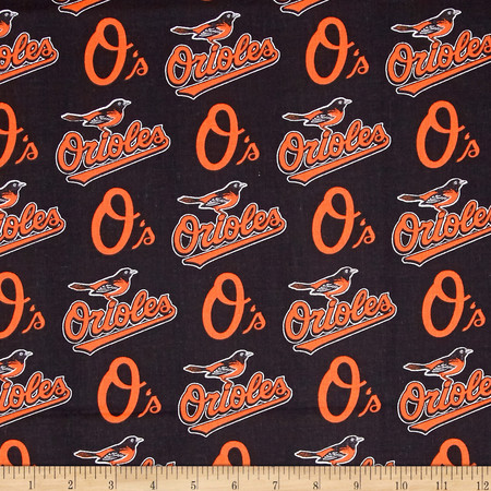 MLB Cotton Broadcloth Baltimore Orioles Black/Orange Fabric By The Yard
