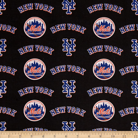 MLB Cotton Broadcloth New York Mets Orange/Blue Fabric By The Yard