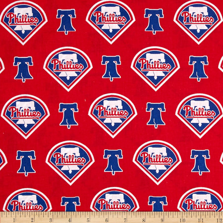 MLB Cotton Broadcloth Philadelphia Phillies Red/Blue Fabric By The Yard