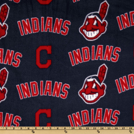 MLB Fleece Cleveland Indians Blue/Red Fabric By The Yard