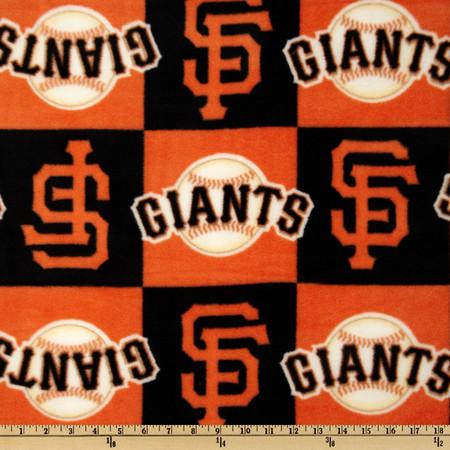 MLB Fleece San Francisco Giants Blocks Orange/Black Fabric By The Yard