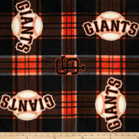 MLB Fleece San Francisco Giants Plaid Black/Orange Fabric By The Yard