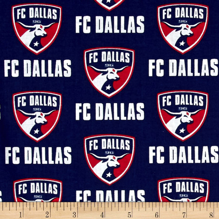 MLS Cotton Broadcloth FC Dallas Navy Fabric By The Yard