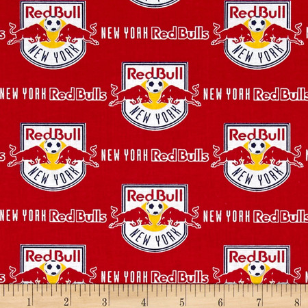 MLS Cotton Broadcloth New York Red Bull Fabric By The Yard