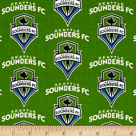MLS Cotton Broadcloth Seattle Sounders Green Fabric By The Yard