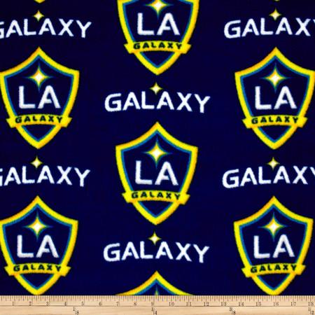 MLS Fleece Los Angeles Galaxy Navy/Yellow Fabric By The Yard
