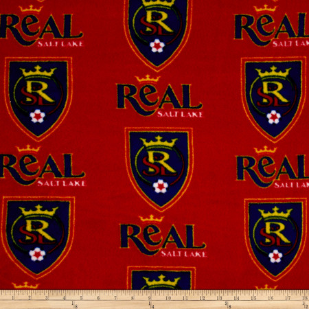 MLS Fleece Salt Lake Real Red Blue Fabric By The Yard