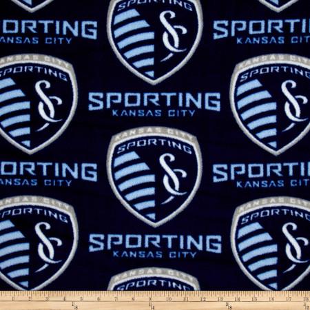 MLS Fleece Sporting Kansas City Blue Fabric By The Yard