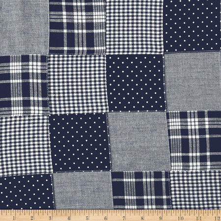 Madras Patchwork Plaid Navy Chambray Fabric By The Yard