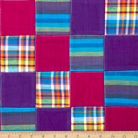 Madras Plaid Patchwork Purple Fabric By The Yard
