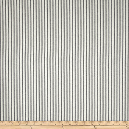 Magnolia Home Fashions Berling Ticking Stripe Slate Grey Fabric By The Yard