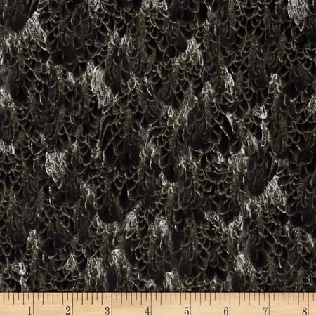 Majestic Bald Eagles Feathers Black Fabric