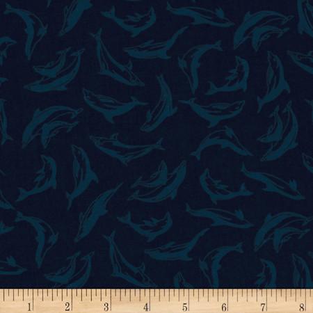Make A Splash Small Dolphins Dark Blue Fabric By The Yard
