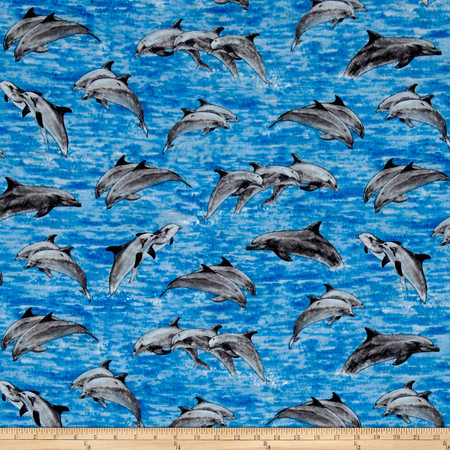 Make A Splash Swimming Dolphins Blue Fabric By The Yard