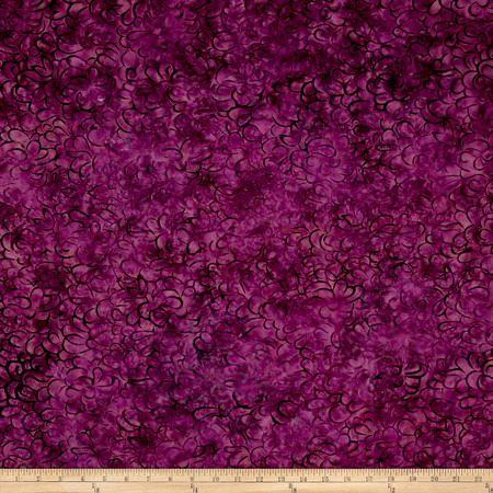 Malam Batiks Packed Petals Raspberry Fabric By The Yard