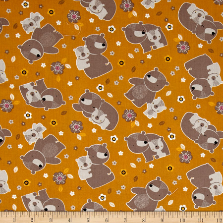 Mamma & Me Bears Marigold Fabric By The Yard