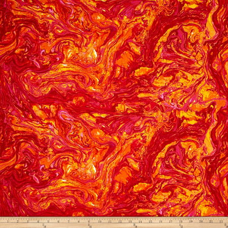 Marblehead Butterflies Are Free Itialian Marble Red/Orange Fabric By The Yard