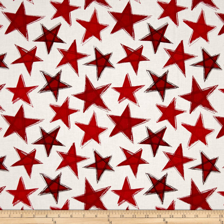 Marblehead Valor Large Stars Red/White Fabric By The Yard