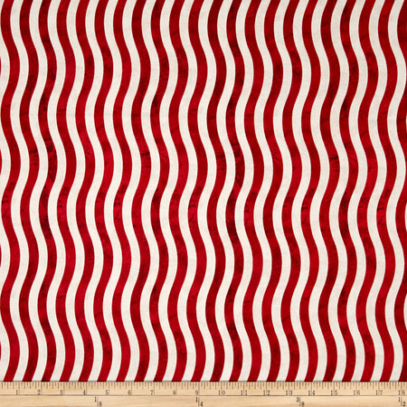 Marblehead Valor Wavy Stripe Red/White Fabric By The Yard