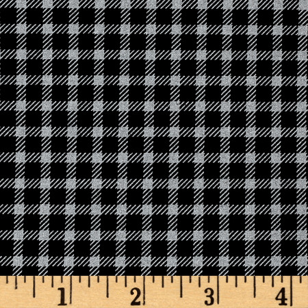 Marcus High Contrast Metallic Check Black Fabric By The Yard