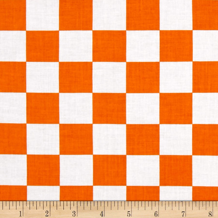 Mardi Gras Checkerboard White Orange Fabric