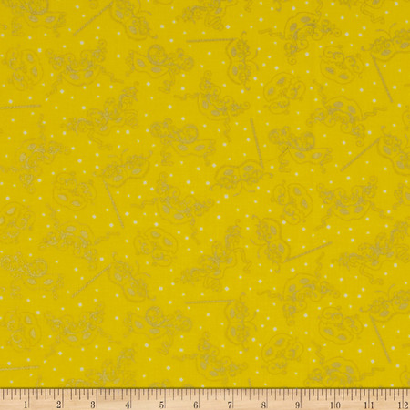 Mardi Gras Metallic Masks Yellow Fabric