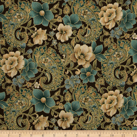 Marrakech Metallic Paisley Floral Brown Fabric By The Yard