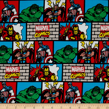 Marvel Comic Wall Jersey Knit Multi Fabric By The Yard