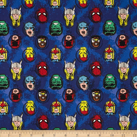 Marvel Comics Characters Blue Fabric By The Yard
