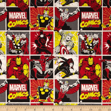 Marvel Comics Comic Blocks Red Fabric