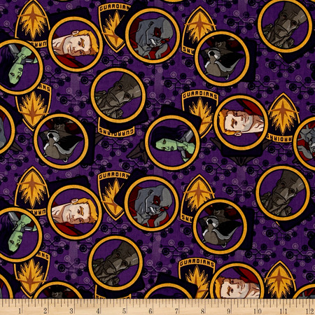 Marvel Guardians of the Galaxy Gang Purple Fabric By The Yard